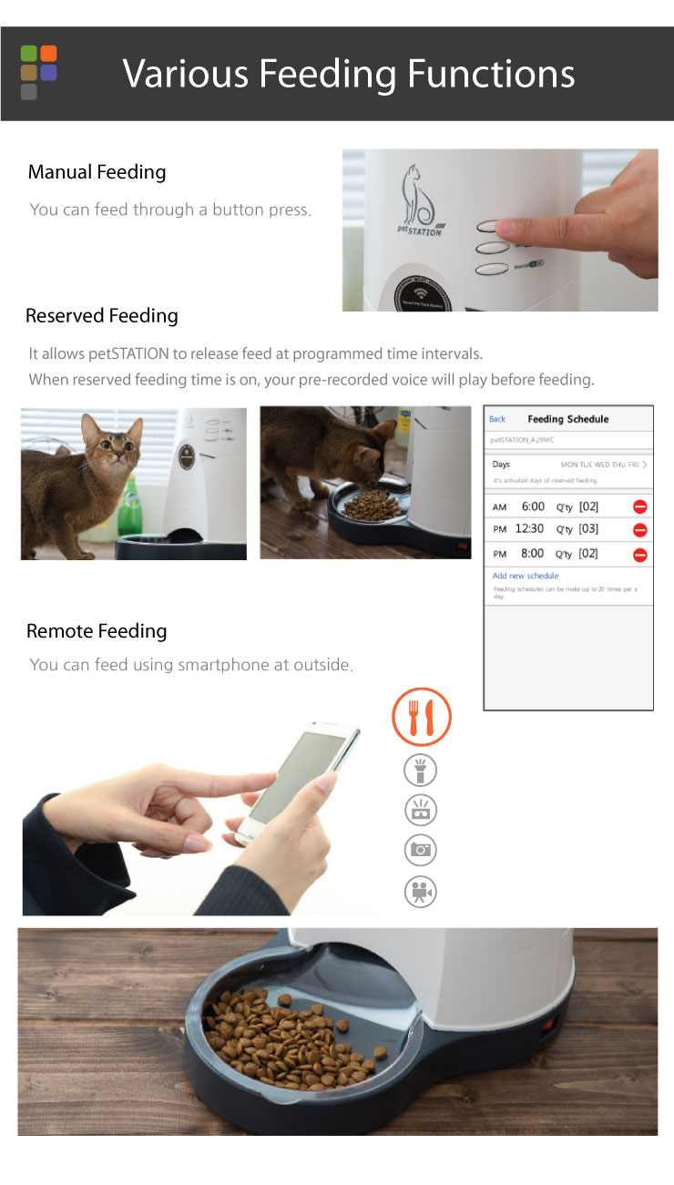 Various Feeding Functions Manual Feeding You can feed through a button press. Reserved Feeding It allows petSTATION to release feed at programmed time intervals. When reserved feeding time is on, your pre-recorded voice will play before feeding. Remote Feeding You can feed using smartphone at outside.